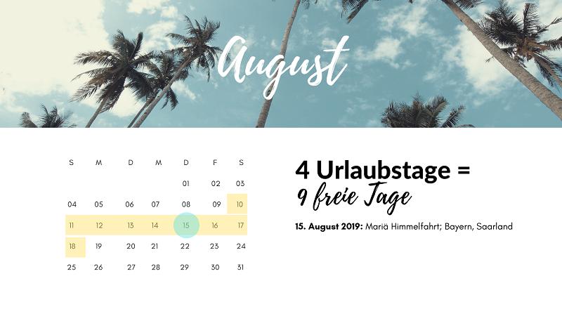 brückentage august 2019