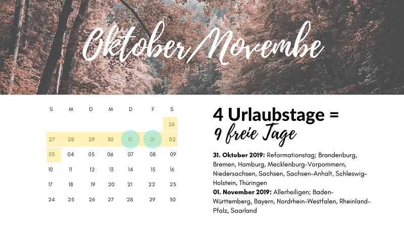 brückentage oktober november 2019